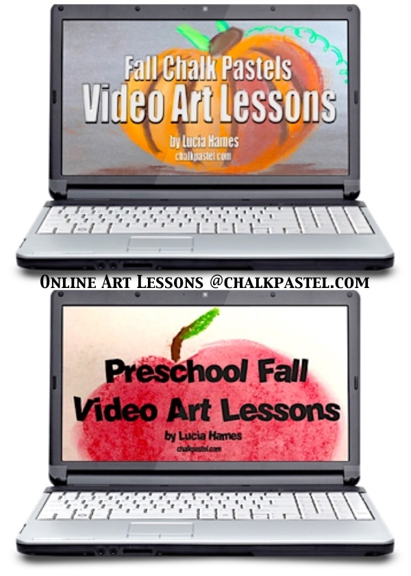 Grow a love of art this fall! Two fall video art lessons courses together for one low price. Fall Chalk Pastels Video Art Lessons for all ages and Preschool Fall Video Art Lessons too!