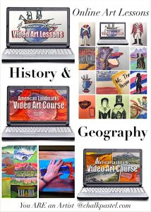 Two sets American history art lessons together for one low price! With your chalk pastels at the ready, let's take a tour of American Landmarks AND paint American history from sea to shining sea! It's American history and geography art lessons all rolled up together for a marvelous learning experience. Two sets of art courses and 24 total history and geography art lessons!