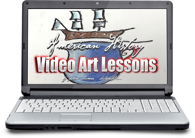History and art are a wonderful combination! Make history come alive with chalk pastel art and our American History Video Art Lessons for all ages.