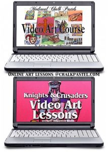 Two sets of middle ages video art lessons together! With your chalk pastels at the ready, let's take a tour of medieval history plus knights and crusaders!