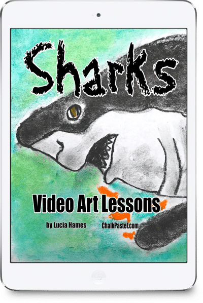 Nana brings the art fun with Sharks Video Art Lessons! All it takes is a starter set of chalk pastels, construction paper and Nana's video art lessons for a celebration of Shark Week or to thrill your shark enthusiast. No expensive, intimidating list of art supplies. This set of Sharks Video Art Lessons is a wonderful stand alone art curriculum or a perfect complement to your summer fun or shark learning throughout the year.