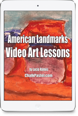 With your chalk pastels at the ready, let's take a tour of American Landmarks from sea to shining sea! American Landmarks Video Art Course for All Ages