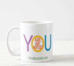 Art and tea time? Yes! Nana has her tea while she teaches her art lessons. You can also enjoy this beautiful You ARE an Artist Mug.