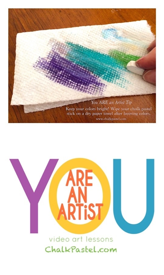 Chalk pastel sticks all dirty after layering colors? Here is how to keep chalk pastel colors bright with just a dry paper towel. You ARE an Artist!