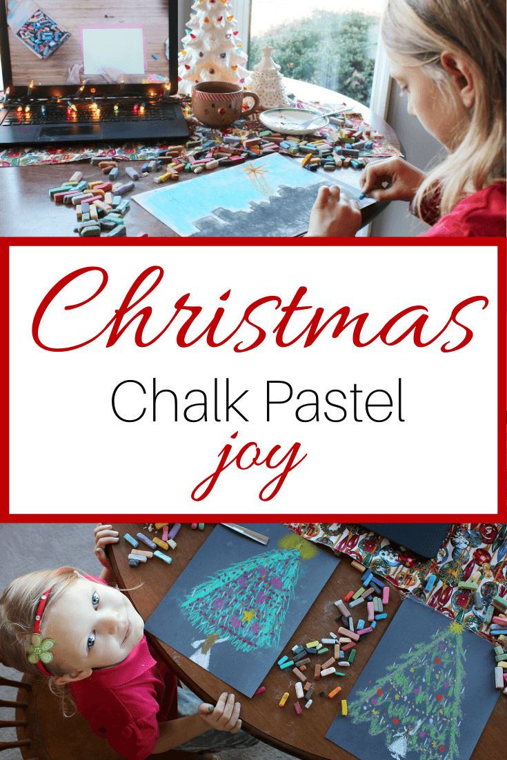 The beauty and magic of the holidays are upon us and your kids are going to love making Christmas chalk pastels. These fun and easy chalk pastel tutorials help bring joy and celebration to the holidays. Especially when you add in a mug of hot cocoa, some twinkly lights, and a little Christmas music for an extra bit of enchantment. It's Christmas chalk pastel joy.