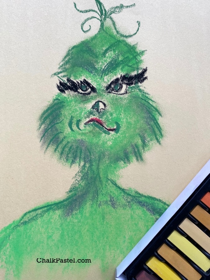 Enjoy a sample of Chalk Pastels at the Movies with Nana's How to Draw The Grinch in Chalk Pastels Video Art Lesson! You ARE an Artist!