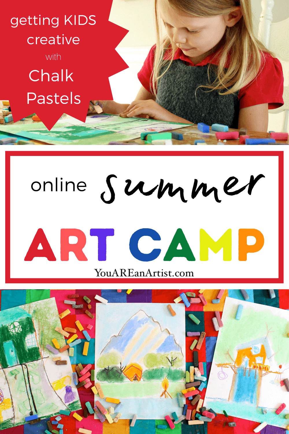 "Even if you can't get your children to a ""real"" summer art camp this year, I want to encourage you to explore an online camp. With the wonders of technology at our fingertips, this can be an amazing option for many families to choose from. Plus, art camp can be an easy way for kids to learn to express themselves this summer. That's because art gives children the chance to be creative, carefree, and engaged. Your child will gain self-confidence as they develop the skills and techniques to bring their creations to fruition. No artistic talent needed. Just an openness to creative expression!"