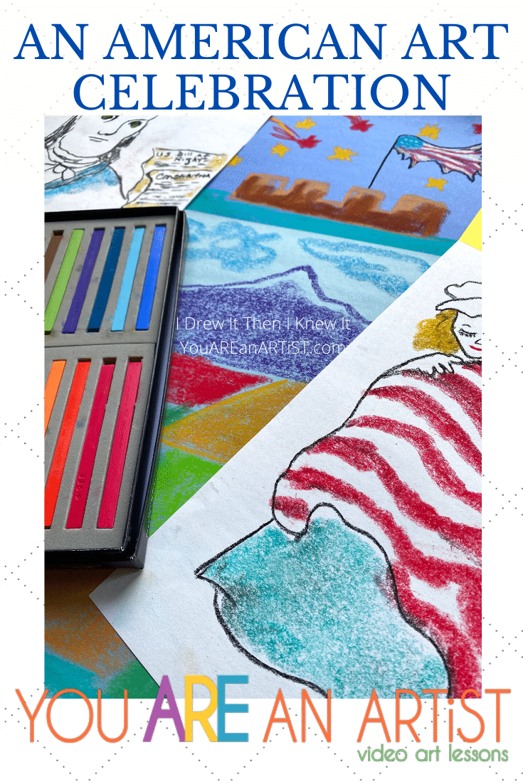 Who is ready for an American Art Celebration? History, art, holidays, maps and more! There is simply so much to celebrate. Take a look at the NEW lessons our You ARE an Artist Clubhouse members will enjoy with Nana.