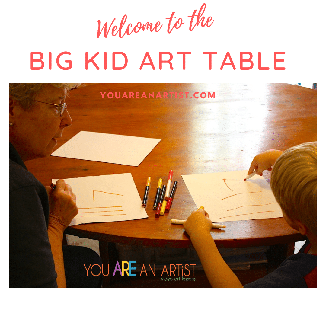 Invite your eager two or three-year-old to sit at the Big Kid Art Table! Little person will be forever thankful! A podcast with Nana of You ARE an ARTiST #podcast #youareanartist #preschoolart
