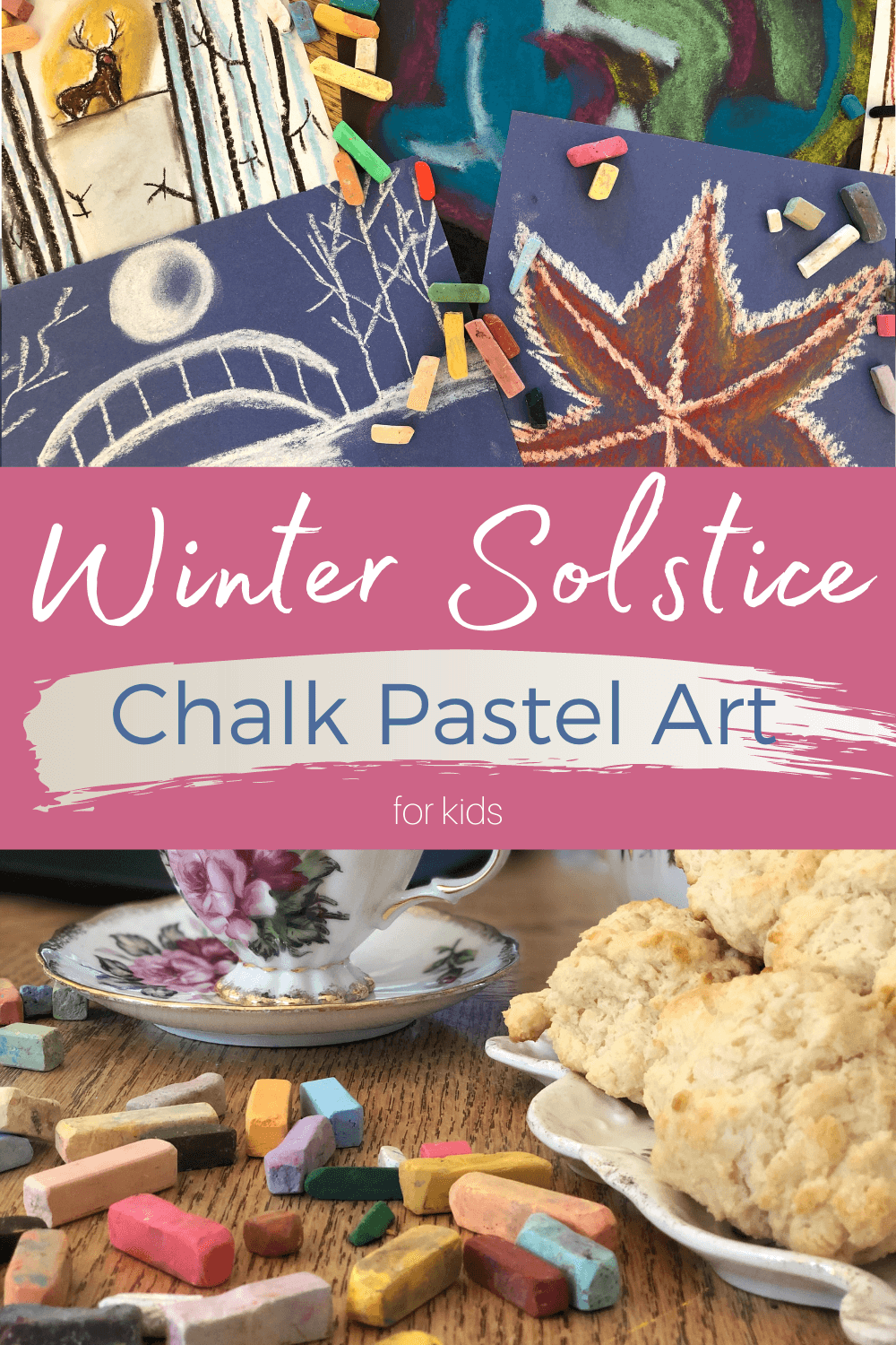 Winter Solstice Chalk Pastel Art: Kids will love making winter solstice chalk pastel art with the You ARE An Artist clubhouse. Chalk pastels are perfect for any age and celebrating the winter solstice just got easier! #YouAREAnArtist #chalkpastels #wintersolstice #winterart #artforkids #wintersolsticeart
