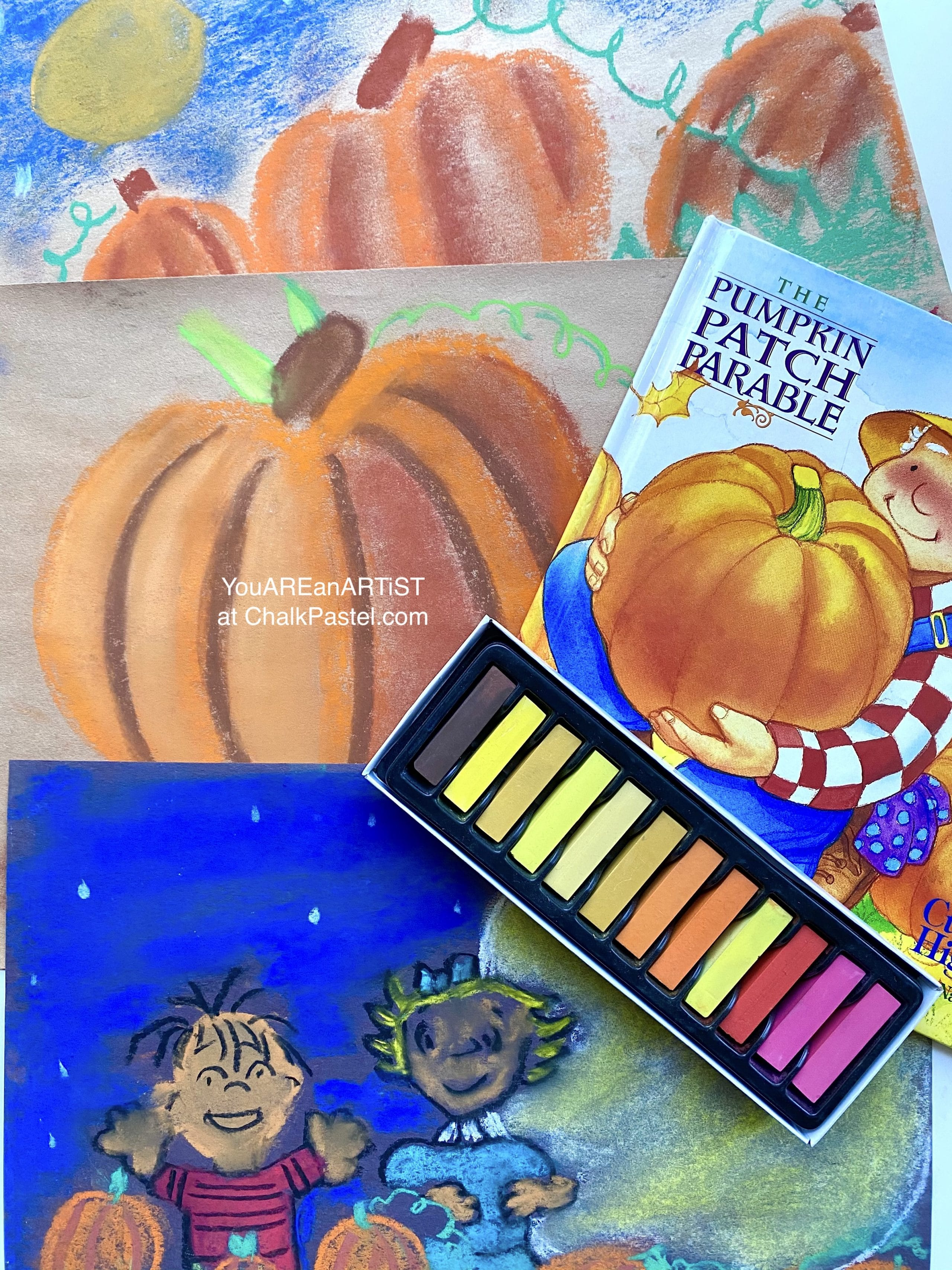 It's the Great Pumpkin Charlie Brown video art lesson! Nana's Fall pumpkin chalk pastel art lessons for all ages are always a favorite. Including Pumpkin Patch Parable.