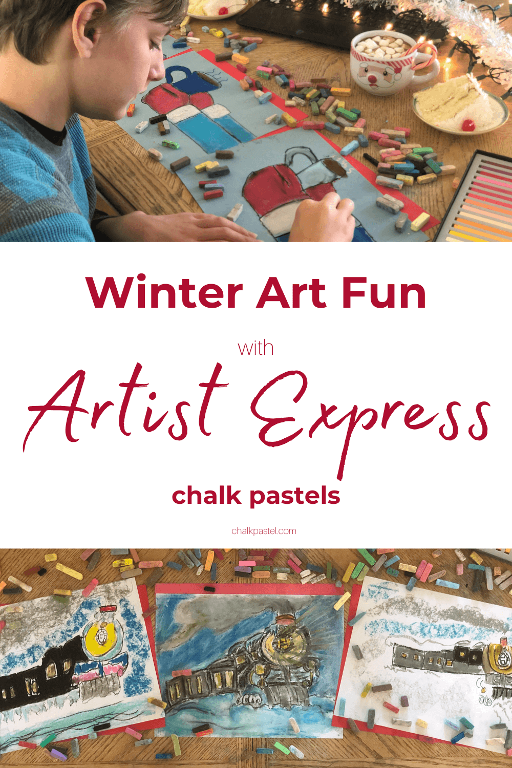 Winter Art Fun with Artist Express Chalk Pastels: Are you looking to add some cozy winter art fun for your kiddos this holiday season? Chalk Pastels are an easy way to help kids get creative! #homeschool #homeschooling #chalkpastels #winterart #winterartfun #
