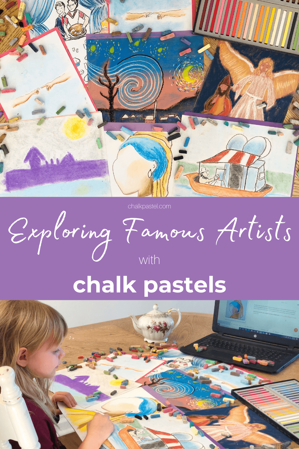 Exploring Famous Artists with Chalk Pastels: Exploring famous artists with your kids has never been easier! Now you can expose your children to the glory and wonder of master artists like da Vinci, Michelangelo, Monet, Rembrandt, Vermeer, and so many more with chalk pastels! #famousartistsforkids #famousartists #chalkpastels #masterartists #homeschool