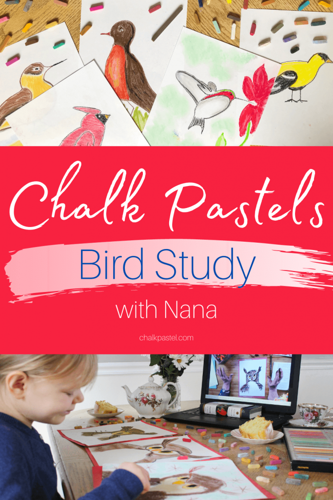 Have a homeschool bird study with Nana's chalk pastel and acrylic bird art lessons.