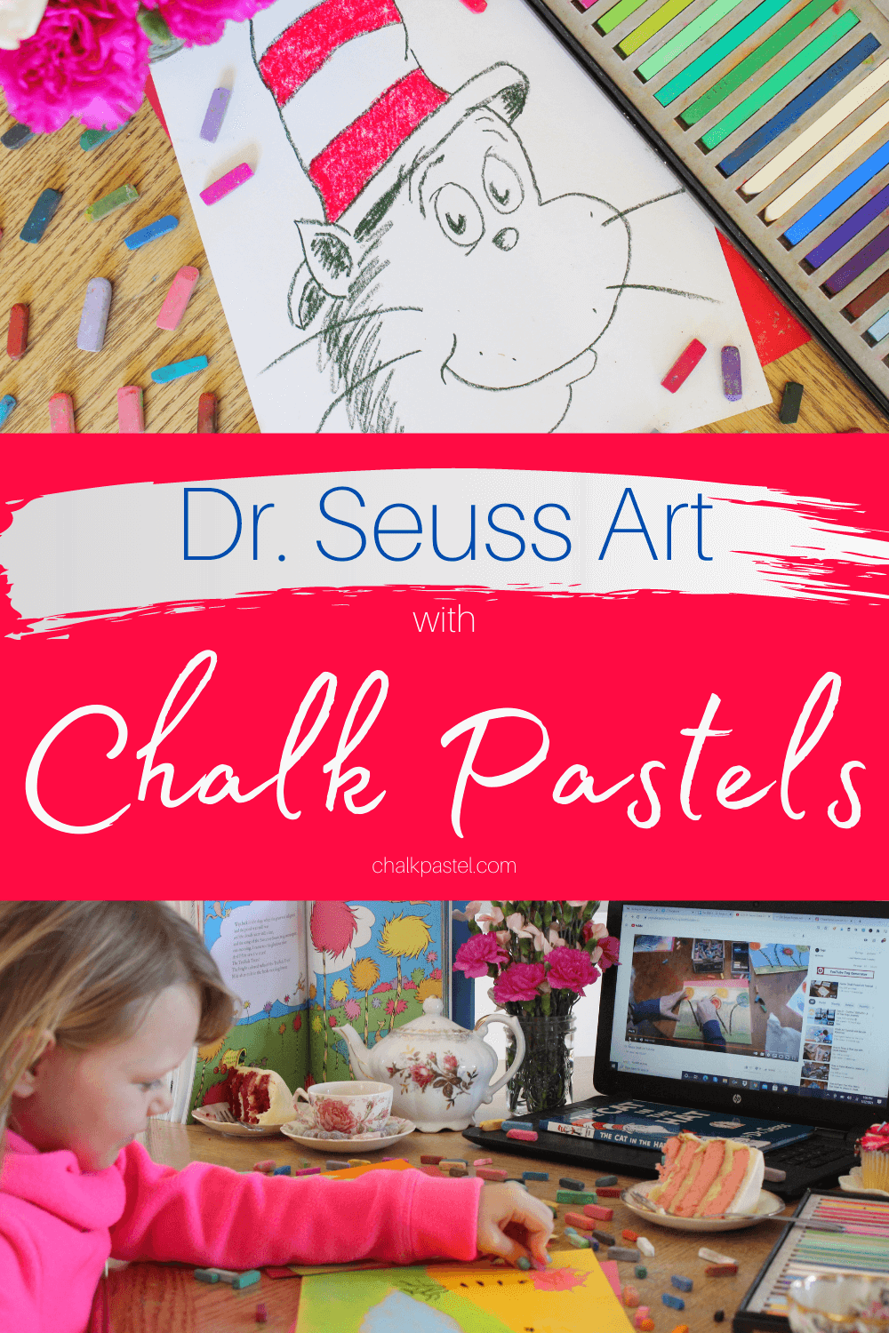 Dr. Seuss Art with Chalk Pastels: Dr. Seuss art with chalk pastels? Yes, please! How adorable would a Cat in the Hat be hanging on your refrigerator? How about the lovely Truffala Trees? Nana has a lesson for both! Now you and your kiddo can enjoy a Seussical art time with chalk pastels! #chalkpastels #DrSeussArt #DrSeussArtforkids #thecatinthehatart #truffalatreesart #homeschoolart #teatimeart #teatimeartlessons #DrSeussartlessons #chalkpastelarttime