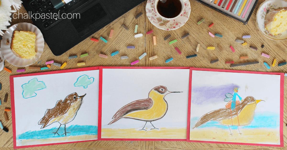 Chalk Pastels Bird Study with Nana