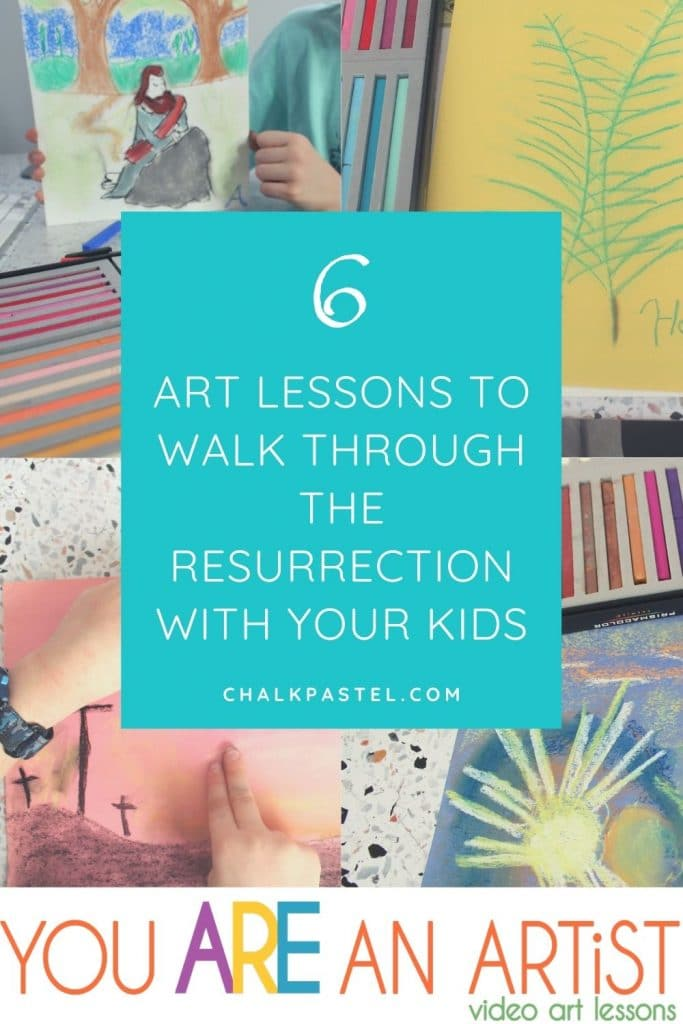 "6 Art Lessons to Walk Through the Resurrection With Your Kids! Using these lessons, you and your children can ""paint through"" the Easter story in a colorful and memorable way."