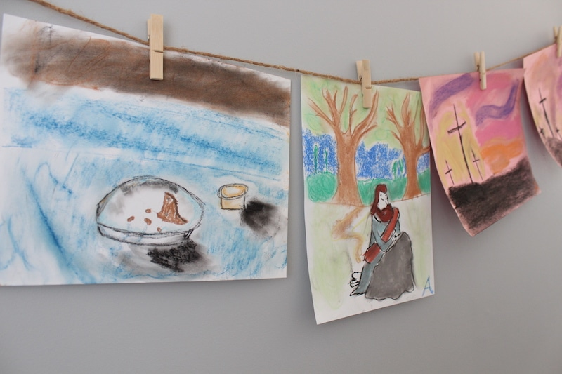 Here are a few ideas for using chalk pastel lessons to teach the Resurrection with kids. You could use these ideas in your homeschool, in a Sunday School, or for home church or family devotional time. Perhaps spread them through the Lenten weeks, or use them for a concentrated study during the Holy Week.