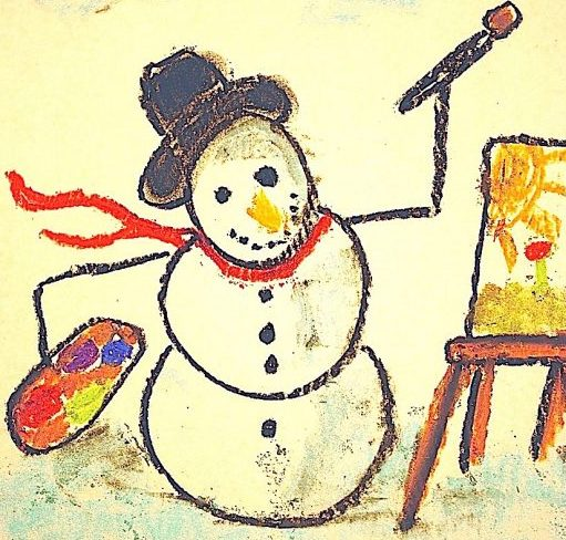 Not only can you make the snowman just like you'd like him, you can design your background, plus – decide what your snowman will paint! How to draw a painting snowman with chalk pastels.