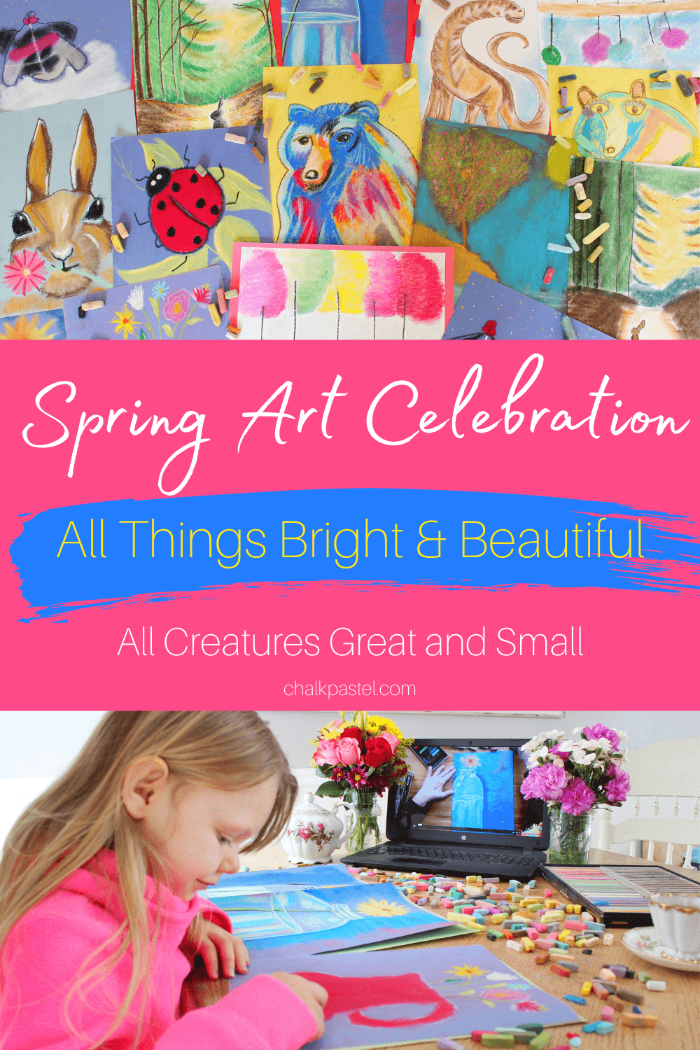 Spring Art Celebration with Chalk Pastels: Perfect for commemorating spring, Nana's spring art celebration with chalk pastels explores all creatures great and small and all things bright and beautiful! These nature-inspired art lessons are easy and fun for the whole family! #springartcelebration #springartwithchalkpastels #chalkpastelartforkids #chalkpastelspringart #springart #springartforkids #springchalkpastels #springchalkpastelsforkids
