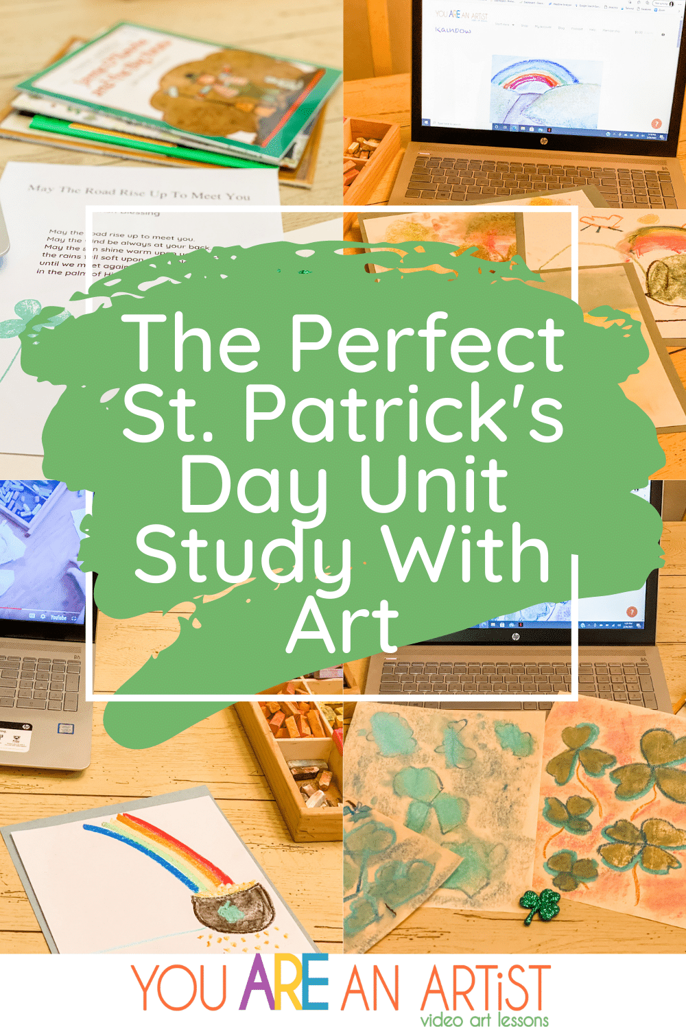 We have the perfect way to celebrate St. Patrick's Day in your homeschool! Art, unit study ideas, and more! #homeschool #stpatricks #stpatricksday #stpatricksdayforkids #homeschoolart