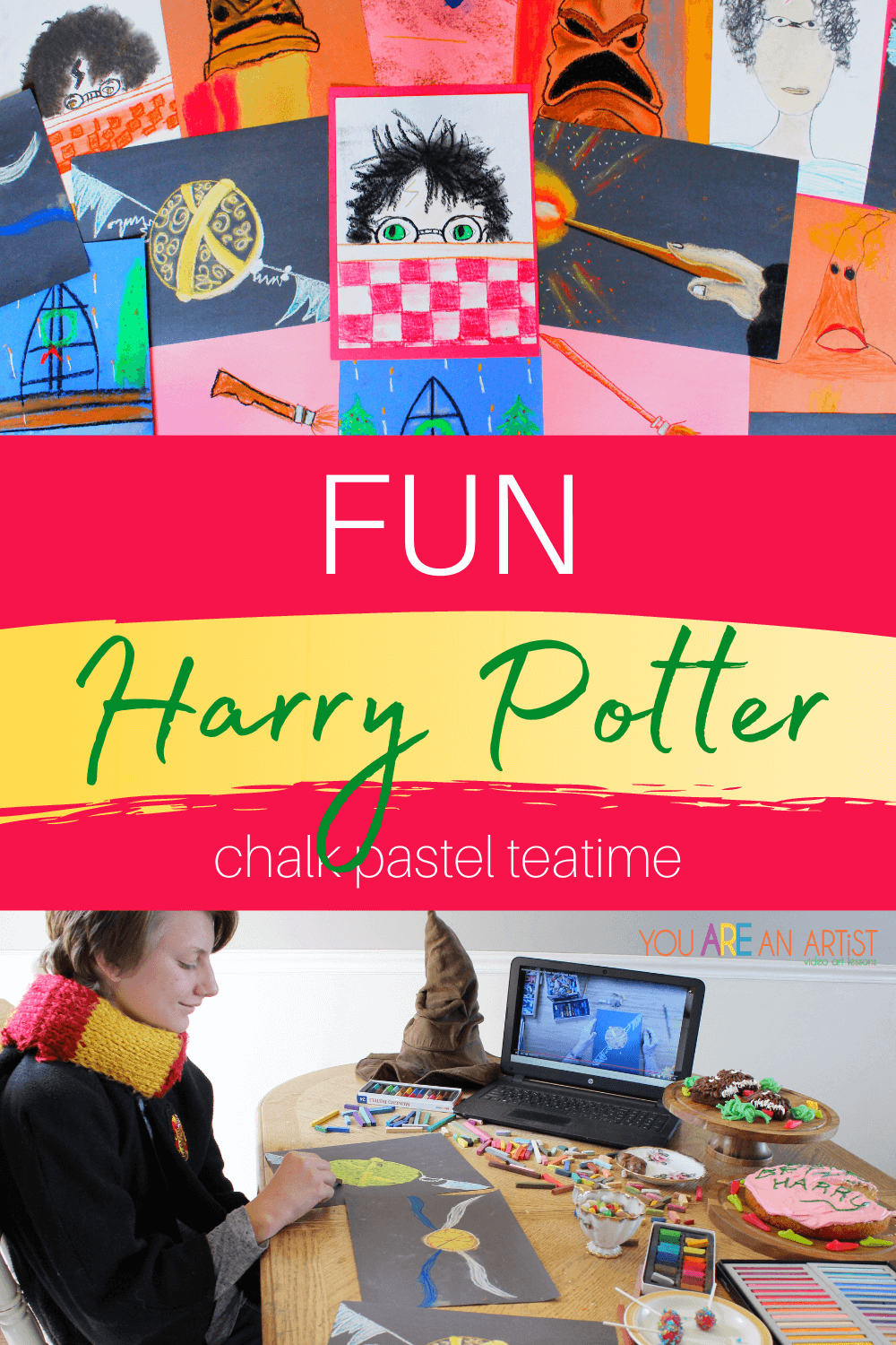 Fun Harry Potter Chalk Pastel Teatime: Check out this fun Harry Potter chalk pastel teatime that even muggles will love! You'll find magical art lessons that everyone in the family will enjoy. You don't have to have a magic wand or spellbook. All you need is a simple set of chalk pastels, a pack of construction paper, and the teatime treats of your choice to bring the magic of art and Harry Potter into your home! #HarryPotter #HarryPotterart #HarryPotterartforkids #HarryPotterchalkpastels #HarryPotterchalkpastelteatime #chalkpastelteatime #chalkpastelatthemovies #videoartlessons #YouAREAnArtistClubhouseMembership #YouAREAnArtist