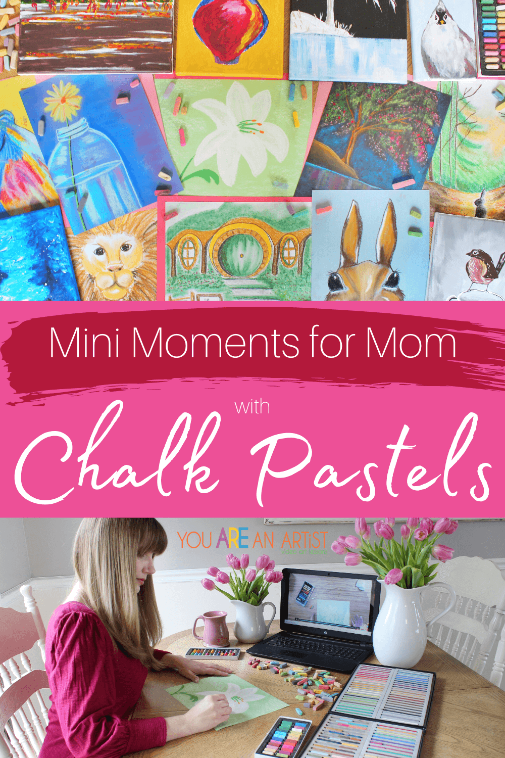 Mini Moments for Mom with Chalk Pastels: Whether you 5 minutes, 10 minutes, 20 minutes, or more, take the time to recharge your spirit with these mini moments for moms. Even busy moms can appreciate the simplicity and ease of chalk pastels. No super long supply list is needed! Just a starter set of chalk pastels, a pack of construction paper, and a few moments is all that required for a mom to reconnect with herself and a love of art. #momlife #momtime #motherhood #mom #relaxation #selfcare #minimomentsformoms #momselfcare #momart