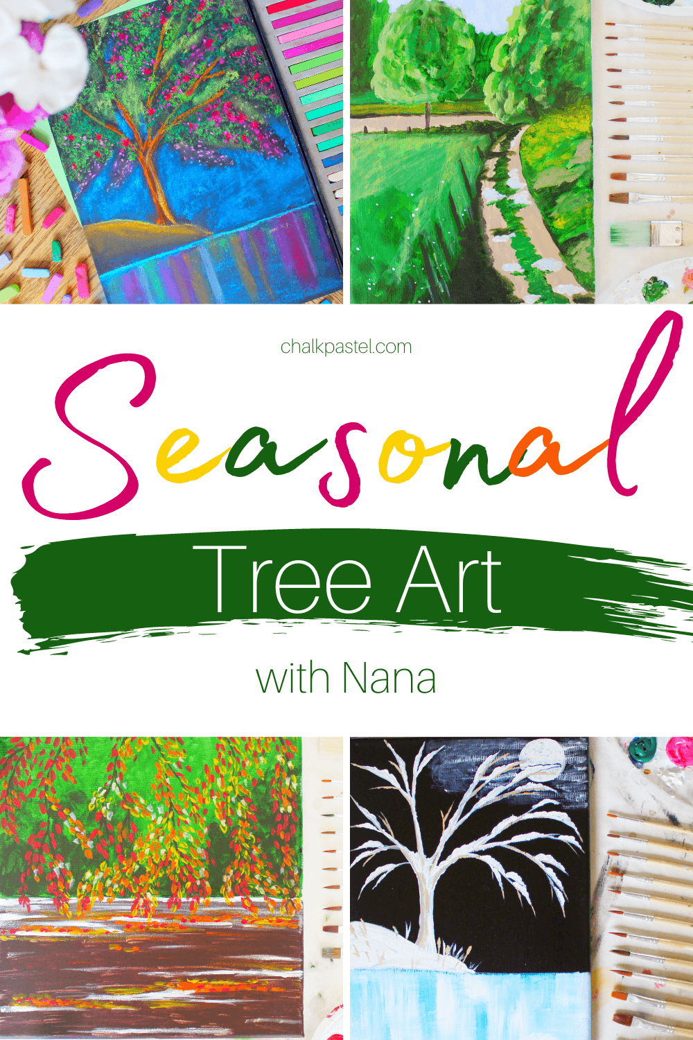 Seasonal Tree Art with Nana: Easy seasonal tree art with Nana is a perfect way to celebrate the four seasons or add to your next tree nature study! Spring, summer, fall and winter are all represented in a mix of chalk pastel and acrylic paintings. These lessons are perfect for kids and adults alike. So sit back, and let Nana guide you through the four seasons with trees. #fourseasonstreeart #fourseasonsnaturetreeart #treechalkpastel #springtreeartforkids #summertreeartforkids #falltreeartforkids #wintertreeartforkids #seasonaltreeartforkids #simplepaintedtreeart #easytreeartforkids