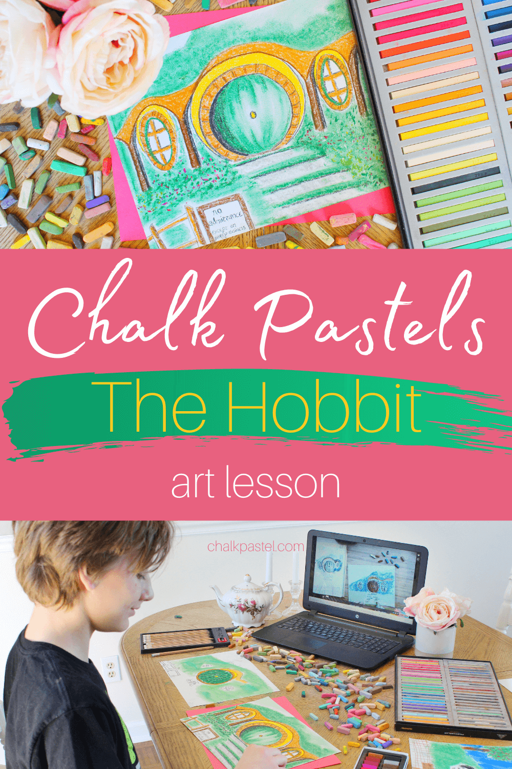 Chalk Pastels The Hobbit Art Lesson: Do your kiddos love the fantasy and adventure of  J. R. R. Tolkien's The Hobbit? Then, The Hobbit art lesson with Nana and chalk pastels are for you! #chalkpastel #YouAREAnArtist #TheHobbit #TheHobbitartlesson #TheHobbitchalkpastellesson #chalkpastellessons