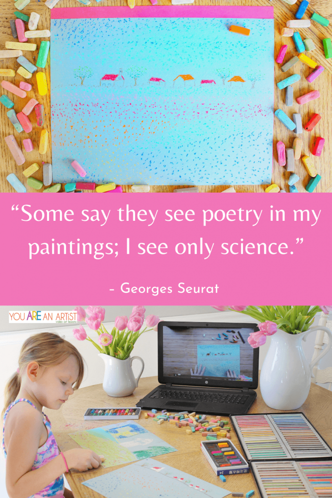 In his short life, famous artist Georges Seurat held a long-reaching paintbrush in his hand—his influence with that brush brought about a renewal of public interest in the Impressionist artists of the day—and changed how our very eyes can be coaxed into seeing colors optically. Listen to Nana's podcast on Seurat then enjoy Nana's art lesson!