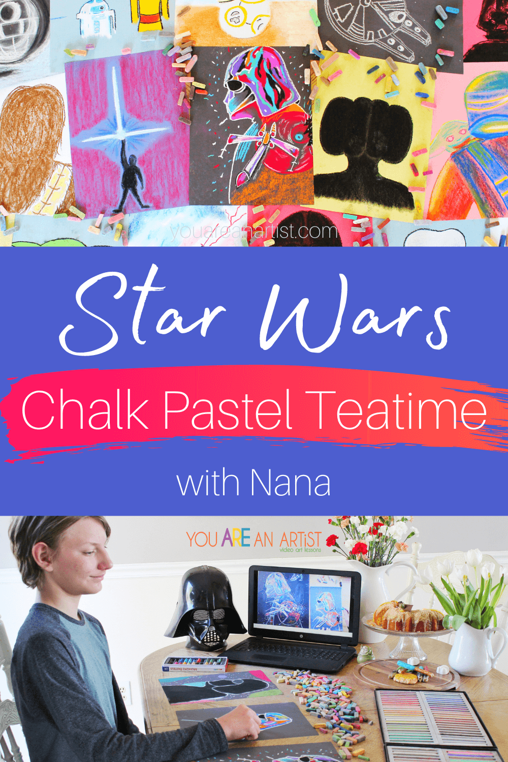 Star Wars Chalk Pastel Teatime with Nana: This fun Star Wars chalk pastel teatime with Nana is the perfect way to celebrate your kiddo's love for all things Star Wars! The Star Wars-themed lessons are super easy to follow and are ideal for all ages. All you need is a simple set of chalk pastels, construction paper, and Nana's video art lessons! Add in some tasty treats, and you have a teatime even a Wookie would love! #Star Wars #Maythe4th #StarWarsartforkids #StarWarschalkpastels #StarWarschalkpastelteatime #StarWarschalkpastellessons #Chalkpastelsatthemovies #YouAReAnArtistClubhouse