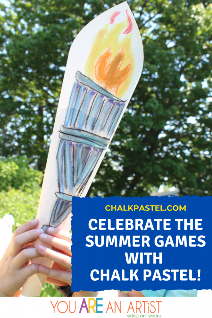 Gather the kids and celebrate the Summer Games with Chalk Pastel Art to illustrate important aspects and moments of the Games!