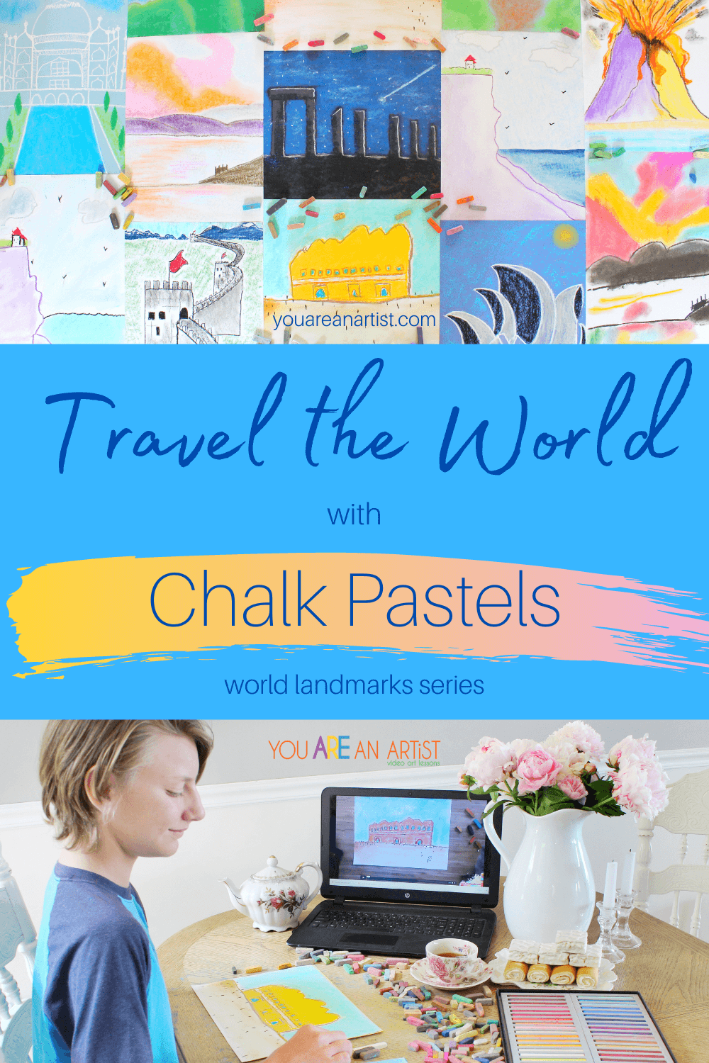 Travel the World with Chalk Pastels: Did you know that you can travel the world with chalk pastels? That's right! Let Nana take you on a trip around the world with her World Landmarks series! This is the prefect addition to your homeschool geography lessons, world history lessons, or just because! #YouAREAnArtist #chalkpastels #homeschool #homeschooling #homeschoolgeography #handsongeography #worldlandmarks #traveltheworldwithchalkpastels