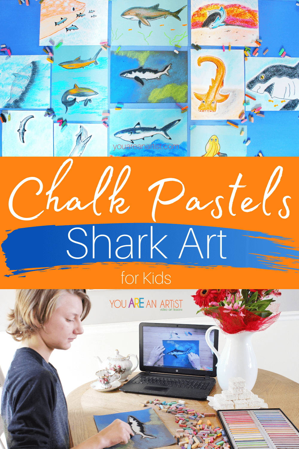 Chalk Pastels Shark Art for Kids: Do your kids love sharks? Are you getting ready for shark week? Then let Nana take you under the sea with chalk pastels shark art for kids! These easy lessons will teach you and your child how to draw some of the most interesting sharks using chalk pastels. #YouAREAnArtist #chalkpastels #sharkweek #chalkpastelssharkart #sharkart #sharkartforkids #chalkpastelssharkartforkids #sharkweek #sharks