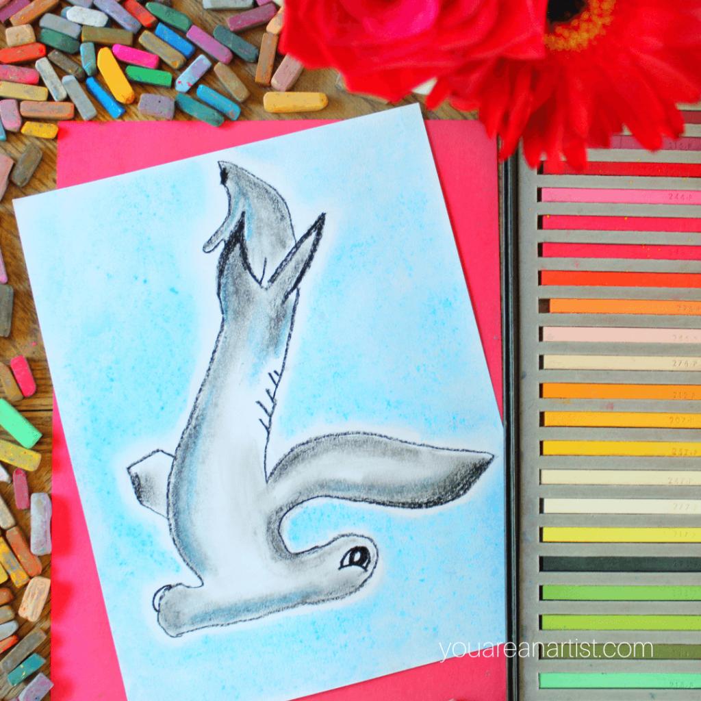 Chalk Pastels Shark Art for Kids