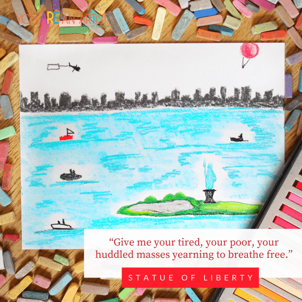 The Stature of Liberty in New York Harbor - Trekking American Landmarks with Chalk Pastels.