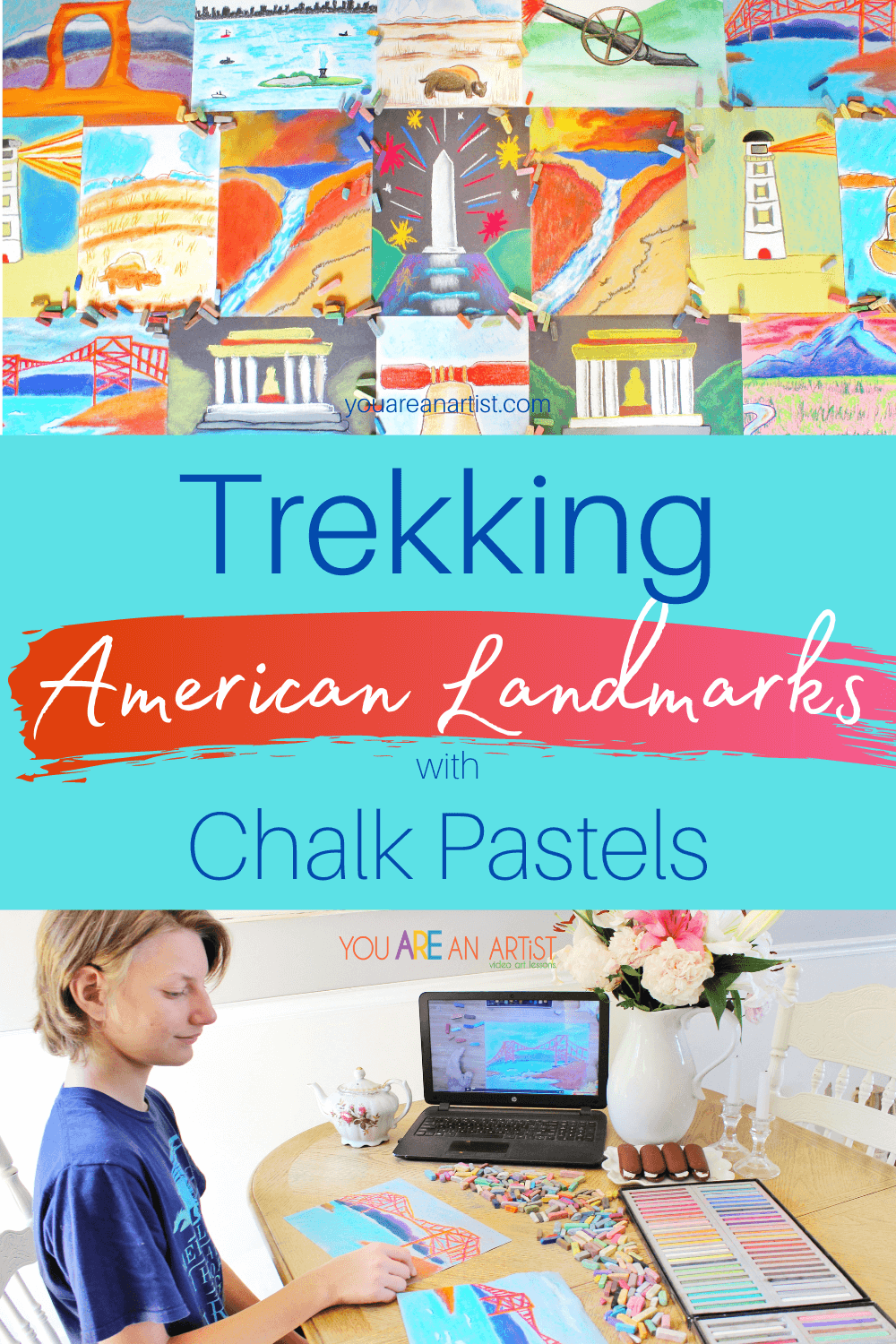 Trekking American Landmarks with Chalk Pastels: Do you dream of trekking America's landmarks with your kids? Let Nana take you and your children on a trip around our great United States without leaving the comforts of your home. Trekking American landmarks with chalk pastels are as easy as walking to your kitchen table, setting out your chalk pastels, and a pack of construction paper. Nana will do the rest. #YouAREAnArtist #chalkpastels #Americanlandmarks #Americanlandmarksartlessons #TrekkingAmericanlandmarks #TrekkingAmericanlandmarkswithchalkpastels #Americanlandmarksvideoartlessons #famousAmericanlandmarks #USlandmarkactivity