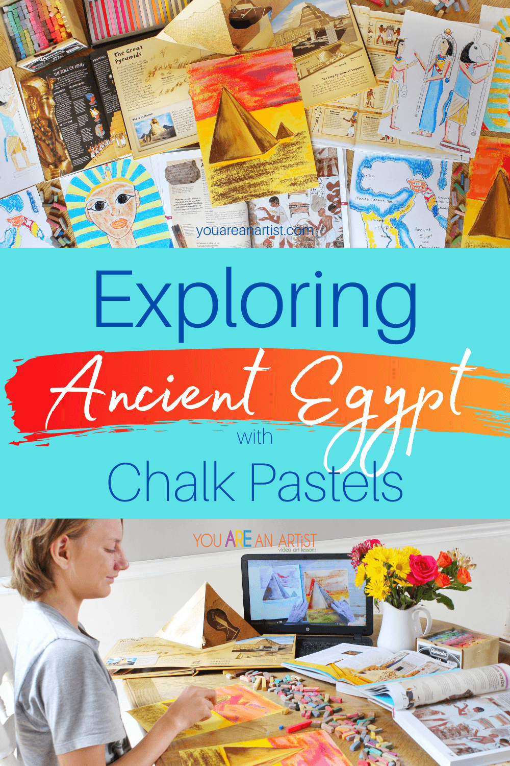 Ancient Egypt Lessons Perfect For Your Homeschool: If you are looking for resources for your ancient Egypt lessons, then be sure to check out Nana's ancient Egypt chalk pastels! They are perfect for adding a bit of hands-on art to your next history lesson. #ancientegyptlessons #exploringancientegypt #exploringancientegyptwithchalkpastels #ancientegypt #chalkpastelartlessons