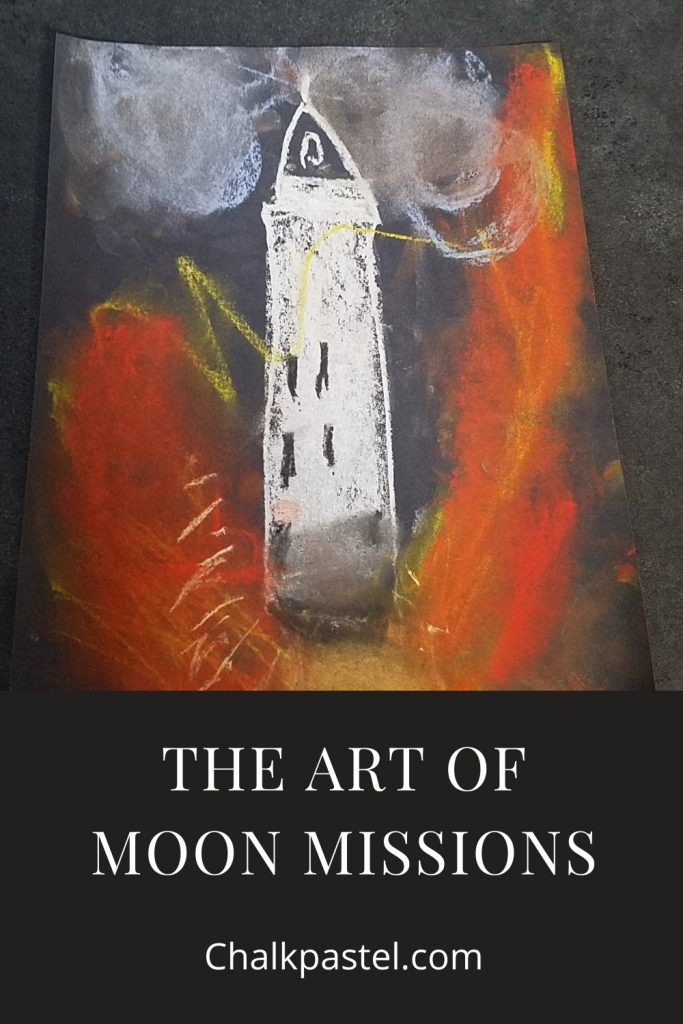 Everything You Need For A Homeschool Moon Missions Unit Study: My son's favorite lesson was this exciting painting of the Saturn V Lift Off, which is also in the Moon Mission course. Having stood under one of the three remaining Saturn V's in Florida really helped put this painting into perspective. The rockets used to reach the moon were huge! The launch must have been amazing.