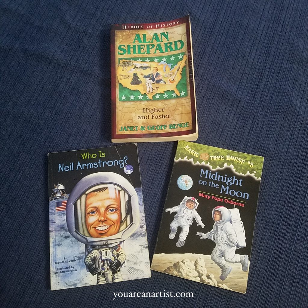 Homeschool Moon Missions Study: There are so many fun resources for learning more about the moon and space exploration. You can read books, do art projects, enjoy fun snacks, explore with a telescope or good binoculars, and there are many virtual learning opportunities.