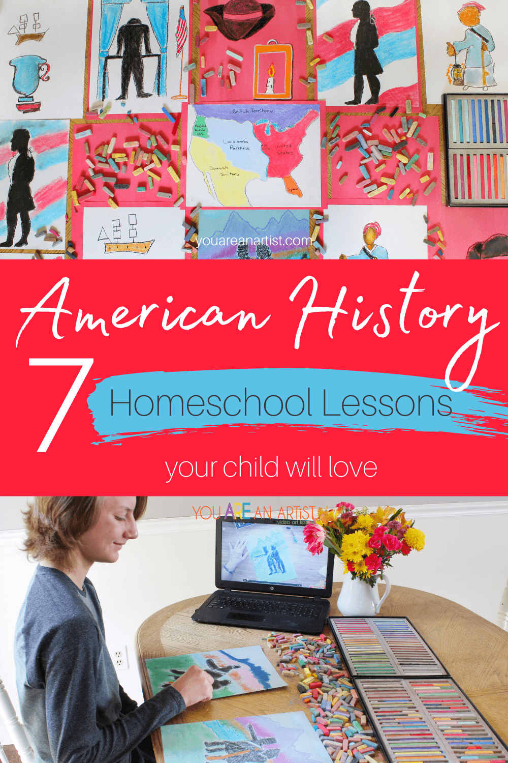 7 American History Homeschool Lessons Your Kids will Love: Are you looking for fun ways to incorporate American history homeschool lessons? Maybe you already have a history curriculum, but you're looking for ways to make it more hands-on and engaging. Chalk pastels may be just what you need to get your kids to fall in love with history!