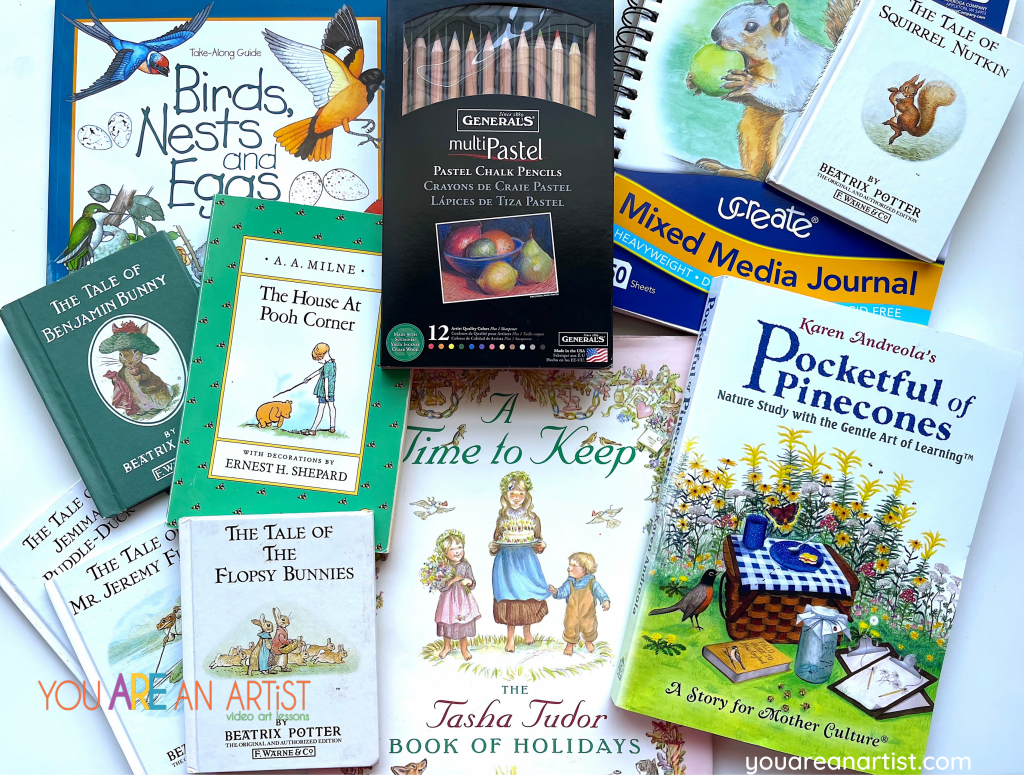 A Charlotte Mason Homeschool Bundle to go with Art Lessons for the Charlotte Mason Homeschool Family! You Are An Artist Lessons tie in so well with the Charlotte Mason philosophy.