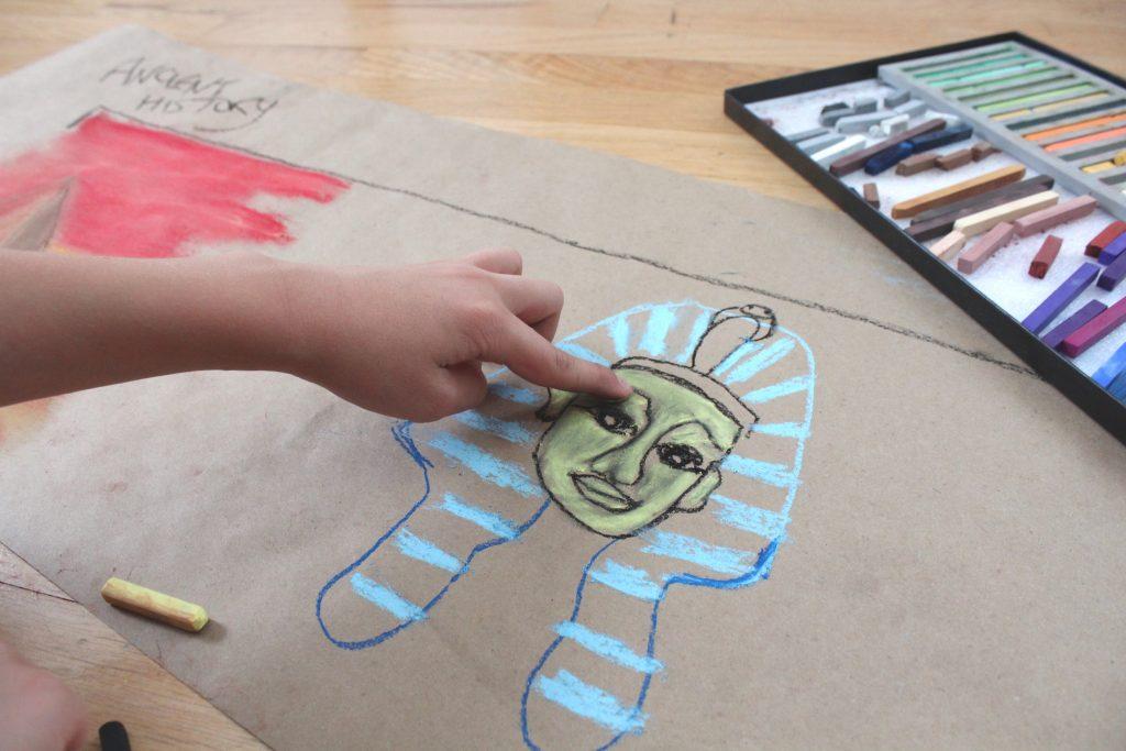 Finger blending chalk pastel drawing of King Tut