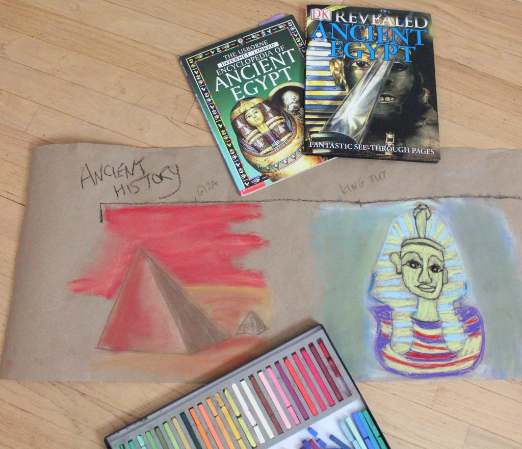 Chalk Pastels and drawings of pyramids and King Tut