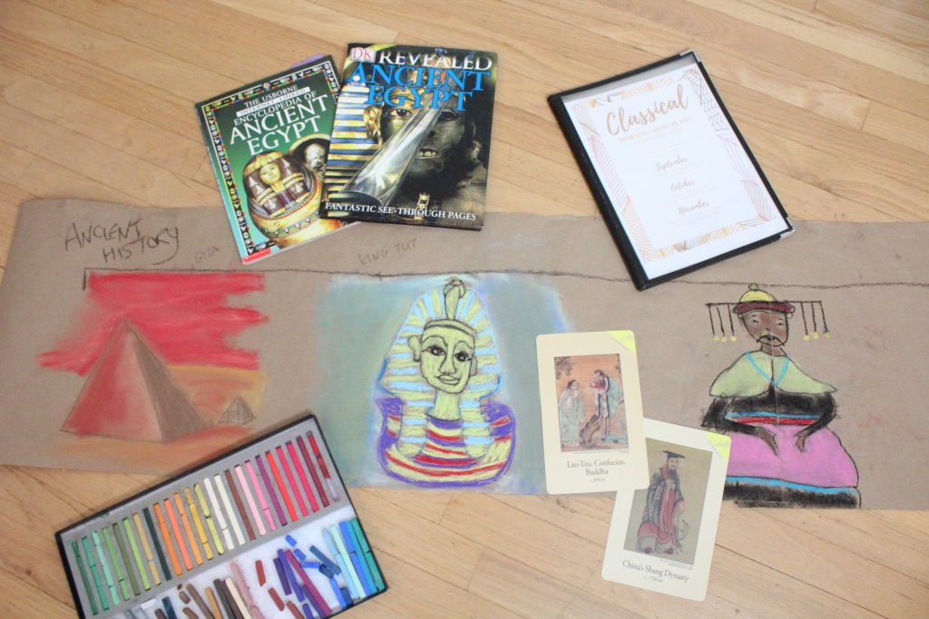 Books and chalk pastel drawings of Ancient Egypt