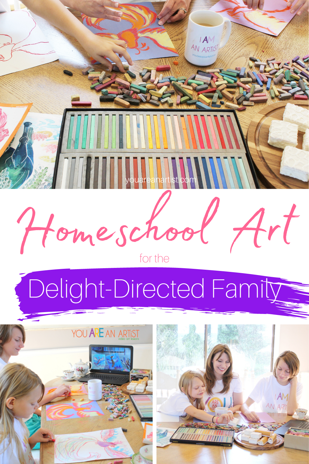 Homeschool Art for the Delight-Directed Family: Experience how a delight-directed family uses the power of art to enhance their child-led learning adventure! You don't have to be artistic or worry about a vast supply list. A simple starter set of chalk pastels, a pack of construction paper, and the You ARE An Artist chalk pastel video art lessons are all you need to get started. #YouAREAnArtist #chalkpastels #homeschoolart #delightdirected #delightdirectedhomeschoolart #delightdirectedfamily #childlededucation #unschooling #strewing #delight-directedhomeschooling