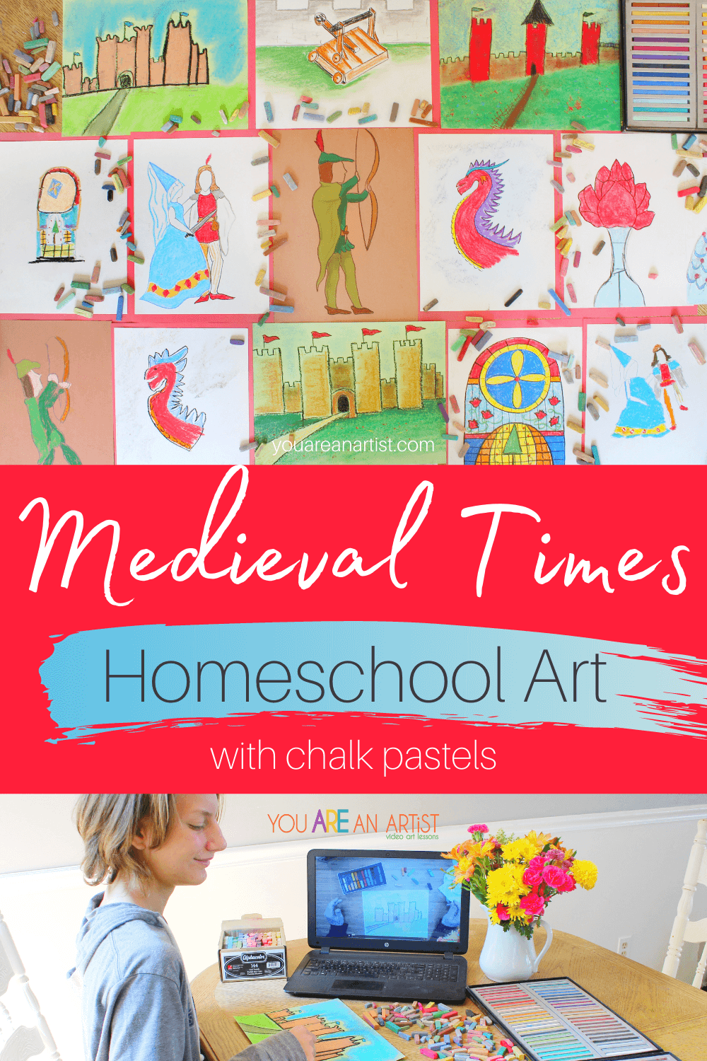 Medieval Times Homeschool Art with Chalk Pastels: Learn about Medieval times with chalk pastel video art lessons! It's the perfect hands-on way to bring a bit of color and excitement to history. #medievalhistory #medievaltimes #medievaltimeshomeschool #medievaltimeshomeschoolart #medievalunitstudy #homeschoolart #chalkpastels #YouAREAnArtist
