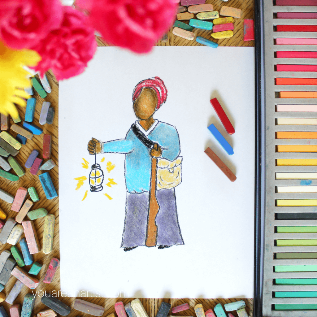 Harriet Tubman art lesson: Nana's Civil War Hands-On Homeschool Lessons and the I Drew It Then I Knew It American History notebook complement your Civil War homeschool studies.