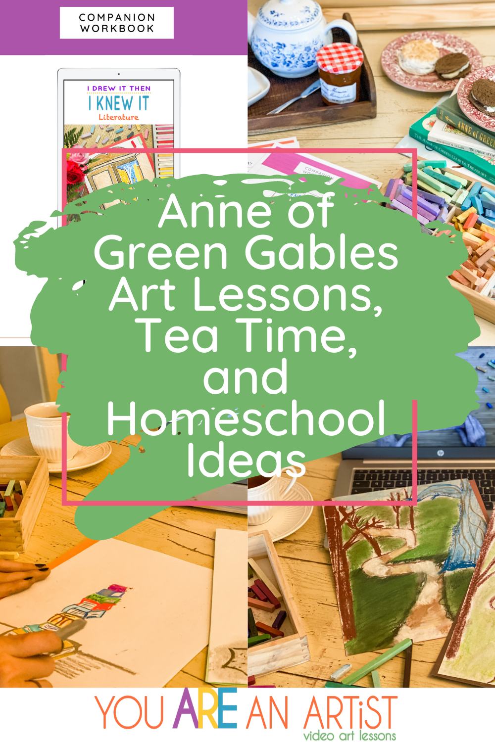 Calling all fellow Anne fans to celebrate Anne of Green Gables art lessons with tea time! Join us for homeschool art ideas and resources. #anneofgreengables #homeschoolart #onlineartlessons #artcurriculum #teatime