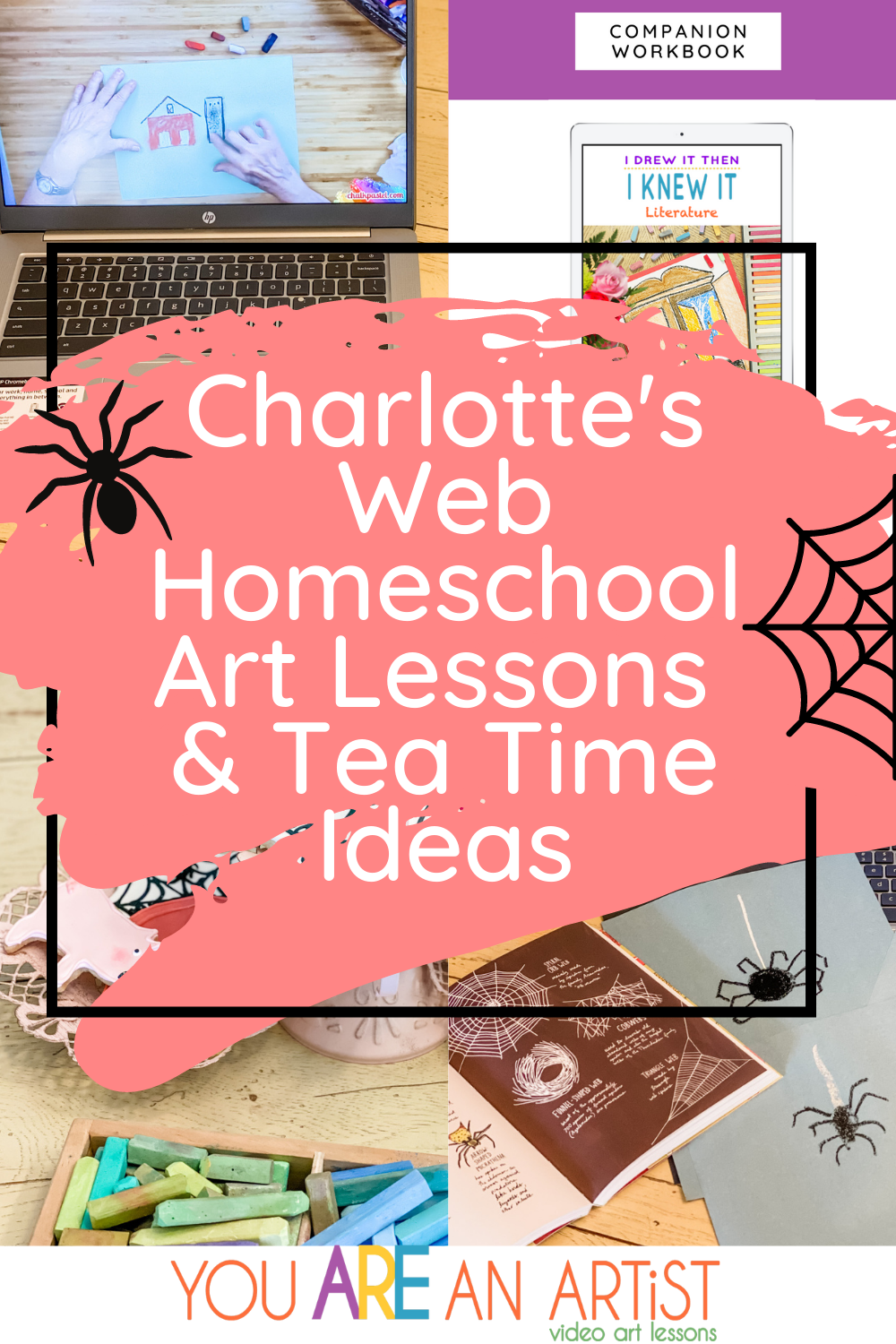 We have some Terrific Charlotte's Web homeschool art lessons to help you make lasting memories with your children while creating together! #homeschoolart #onlineartlessons #charlottesweb #booksforkids #charlotteswebart